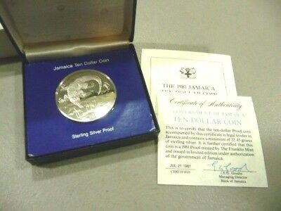 1981 Jamaica  $10 Ten Dollar Silver Proof Coin - Franklin Mint- FREE SHIPPING
