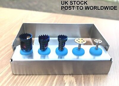 Dental Implant Trephine Drill & Saw Disk Kit 5 Pcs Bone Cutting Surgical Tools