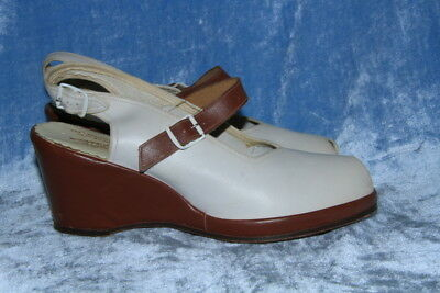 "vtg 70s FEATURE FASHION WHITE & BROWN LEATHER WEDGE sz 8 1/2? open toe 3"" heel"