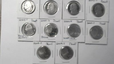 2000-S-2009-S Jefferson Nickel Proofs. 10 lustrious coins.