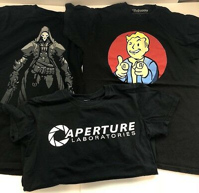 Mens Gaming Tees Lot Of 3, Size SMALL - Fallout, Portal, Overwatch!