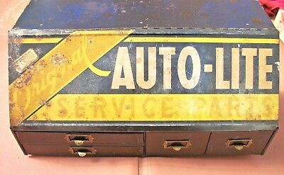 Vintage Original AUTO LITE Service Parts Gas Oil Dealer Counter Top Cabinet Sign