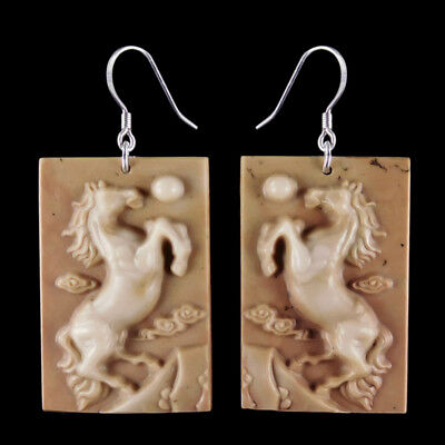 Carved Horse Silver Earring EH900010