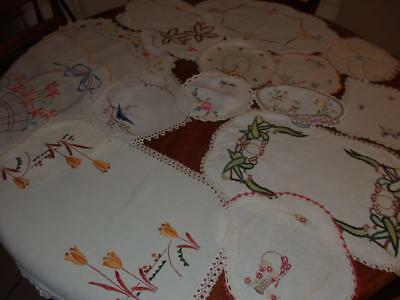 15 Gorgeous Vintage Embroided Doilies~Doilys~Crochet Edges~Blue Bird~Florals