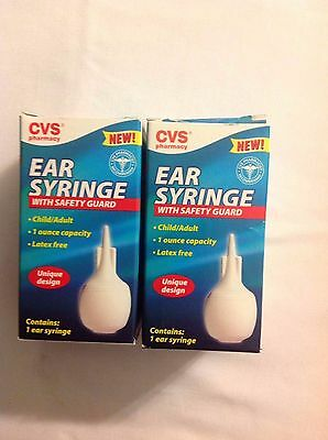 (2 New in Boxes) CVS Ear Syringes with Safety Guards ~ Ins + Tracking # Included
