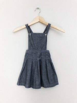 Girls Olive Juice Boutique Vintage Style Chambray Jumper Skirt Sz 3 3T
