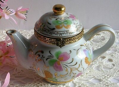 Vintage Formalities by Baum Bro. Butterfly Gold Trimmed Teapot Trinket Box