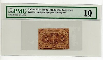 5 cent first issue fractional currency  pmg 10