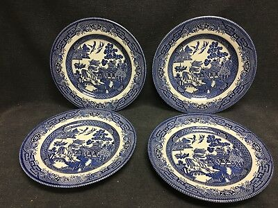 """Vintage LOT OF 4 CHURCHILL BLUE WILLOW SALAD PLATES 8"""""""
