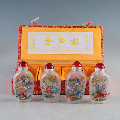 Exquisite Glass Hand-Painted Lovely Goldfish Snuff Bottles 4 Pcs TBY13+a