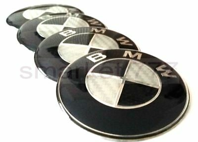 ✅NEXT DAY DELIVERY✅ 4x 65mm Black Carbon BMW Car Wheel Center Caps Curve Badge