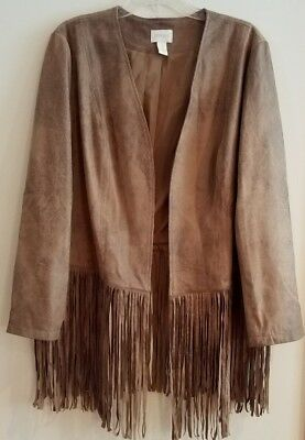 AWESOME!  Chico's Faux Suede Open Front Fringed Jacket, Warm Brown, Size 3, NEW!