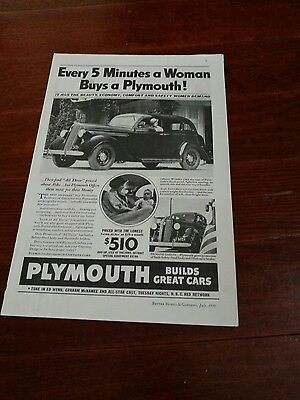 1936 Plymouth  Original Ad 8 inch x 12 inches