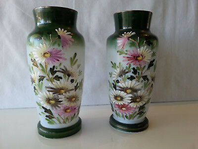 Pair of antique Milk Glass Vases Hand Painted floral design Great condition