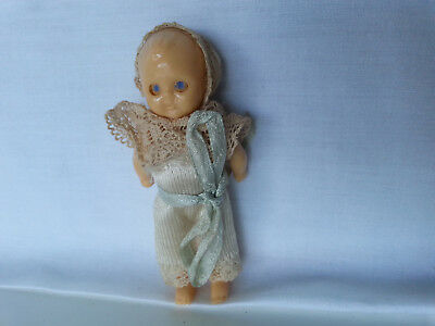 Antique / Vintage Miniature Celluloid Doll - moving arms & eyes - Very Old