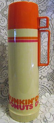 Dunkin Donuts Large Vintage Thermos Bottle With Lid
