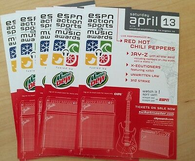 ESPN action sports & Music Awards Red Hot Chili Peppers Jay-Z Five handbills