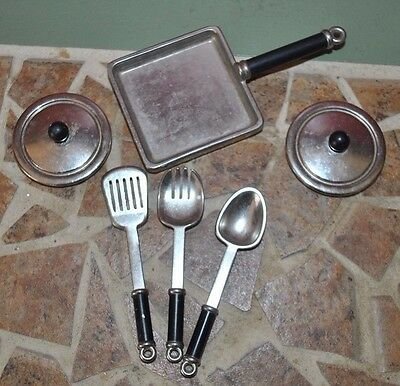 Miniature Doll Set Pan, Utensils, Pot Covers- 6 Items