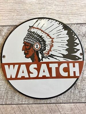 """WASATCH OIL AND GASOLINE PORCELAIN 8"""" Pump Plate Or Lubester Sign. NO RESERVE"""