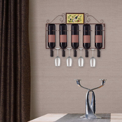 Iron Wall-mounted Wine Rack 5 Red Wine Bottle & 4 Goblet Holder for home