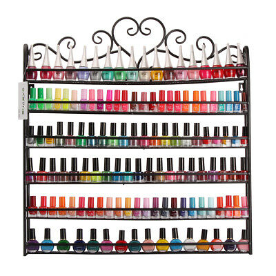 Black 6 Tier Nail Polish Rack Wall Mount Organizer Display Metal 120+ Holder
