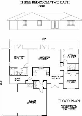 1368 square foot three bedroom house plan