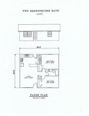 780 square foot two bedroom house plan