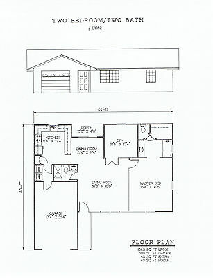 1052 square foot two bedroom house plan