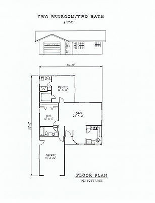 1033 square foot two bedroom house plan