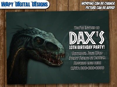 Jurassic World Digital Party Invitation Personalized Printable Birthday Park