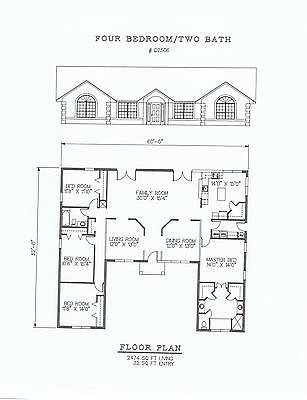 2474 square feet four bedroom house plan