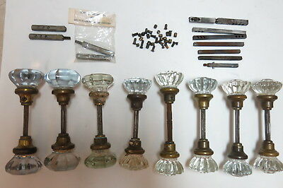 Lot of 16 Antique Vtg Glass & Brass Door Knob Doorknobs Victorian & Hardware