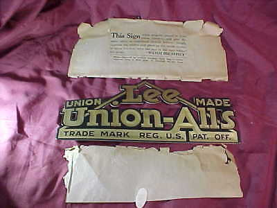 1930s LEE JEANS Union Made DIECUT Store WINDOW SIGN for UNION ALLS