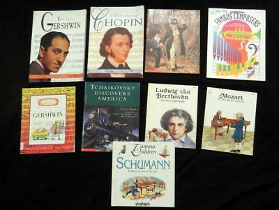 9 FAMOUS CHILDREN PICTURE BOOK LOT biography MUSIC COMPOSERS Mozart Beethoven