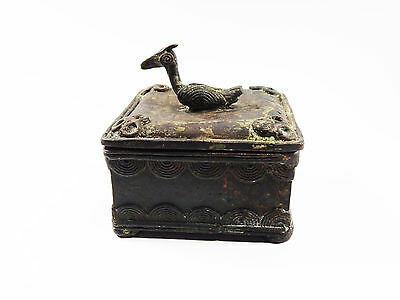 African Tribal Rare Antique Akan Ashanti Cast Bronze Gold Sand Box 12