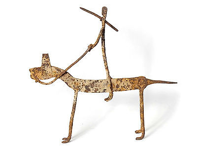 Mega Rare African Tribal Antique Dogon Hand Forged Iron Horse Riding Warrior 2