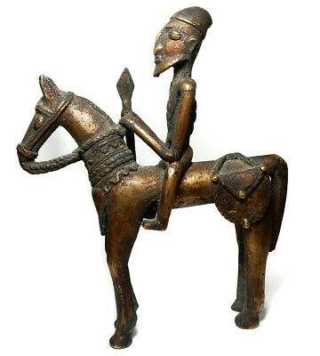 Mega Rare Superb Antique African Tribal Dogon Cast Bronze Horse Riding Warrior 3