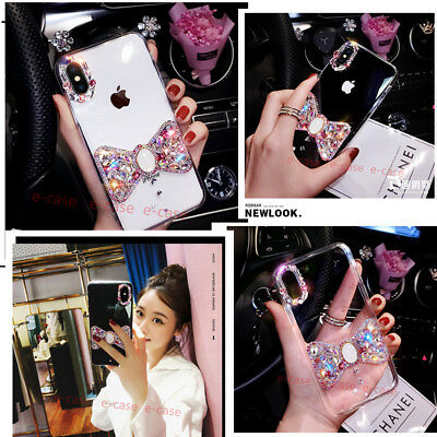Luxuxy Crystal Rhinestone Diamond Bling Bow Clear PC Case Cover For Cell Phones