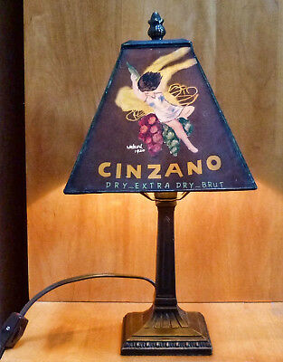"""Black Cinzano Ad 14"""" Table Lamp w/ Handpainted Shade in Excellent Cond"""