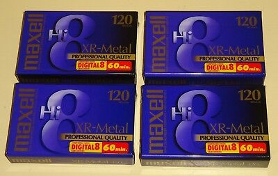 (4) Maxell XR-Metal Hi8 Digital8 Blank 8mm Camcorder Video Tape NEW SEALED
