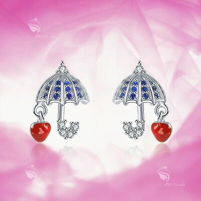 925 silver earrings made with Swarovski crystal umbrella heart stud baby kids