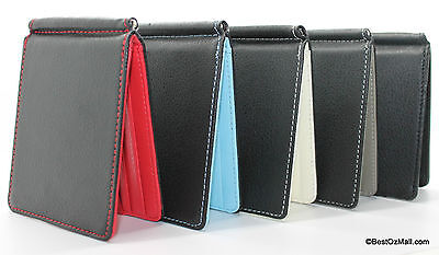 Ultra Slim Mens Womens Money Clip Leather Wallet Credit Card Holder Pouch