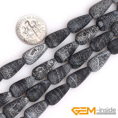 Natural Black Agate Gemstone Frosted Matte Teardrop Beads For Jewelry Making YB