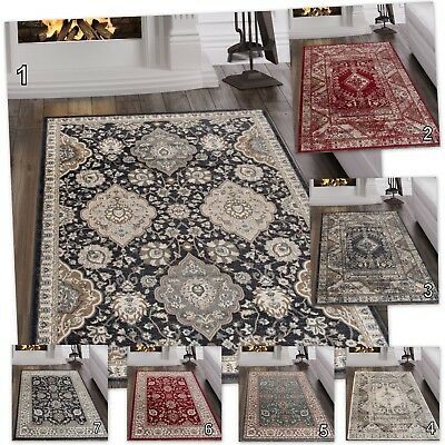 New Elegant Classic Traditional Rugs Red White Blue Small-Extra Large Carpets