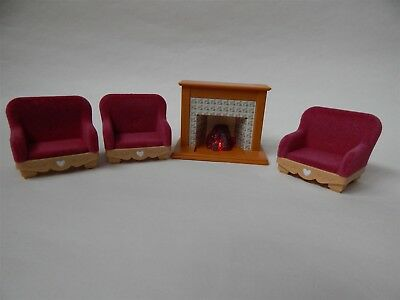 Sylvanian Families three red arm chairs and a light up fire