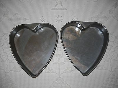 2 Cake Pans Vintage Heart Shaped Valentines Day Baking Heavy Metal Commercial