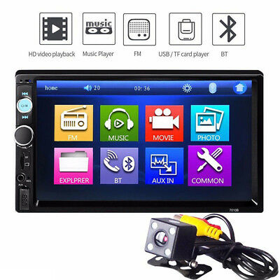 7'' HD 2DIN Bluetooth Touch Car Stereo Radio MP5/3 Player USB/AUX/TF/FM + Camera