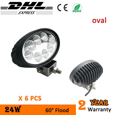 6 x 24W LED Work Light Oval Truck Boat Flood Lights Forklift 4x4 ATV tractor 12V