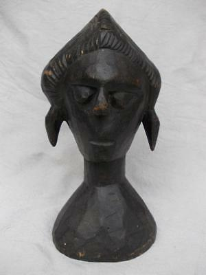 130 / Beautiful Early 20Th Century African Hand Carved Wooden Head Of A Woman