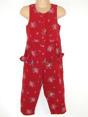 Laura Ashley Vintage Mother&child Cherry Red Needlecord Dungarees Playsuit,3 Yrs